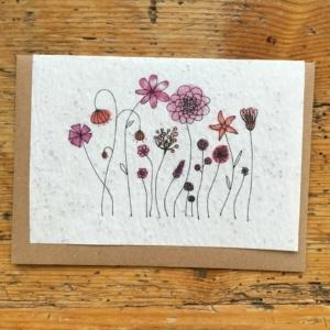 Carte de Lulu Fleurs roses papéterie artisanale