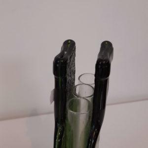 """Vase en verre vert Vase en verre vert Vase en verre vert 2 Vase en verre vert 3 Vase """"bouteille """"en verre vert double 2"""