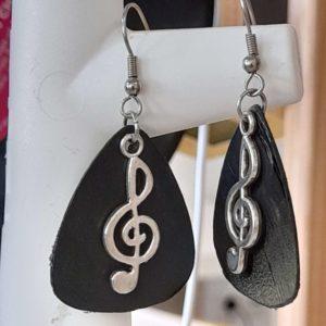 """Boucles d'oreilles vinyle """"Clé de sol"""" vue 1"""